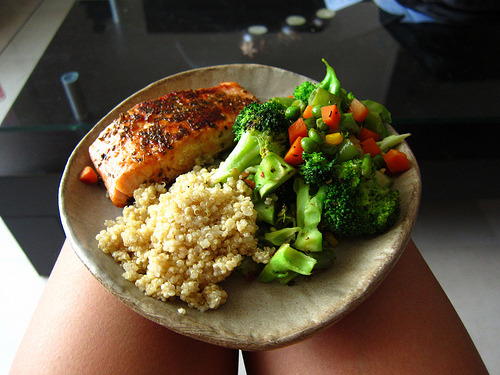 feelfit:  mmm quinoa and brocolli and (probably) fish