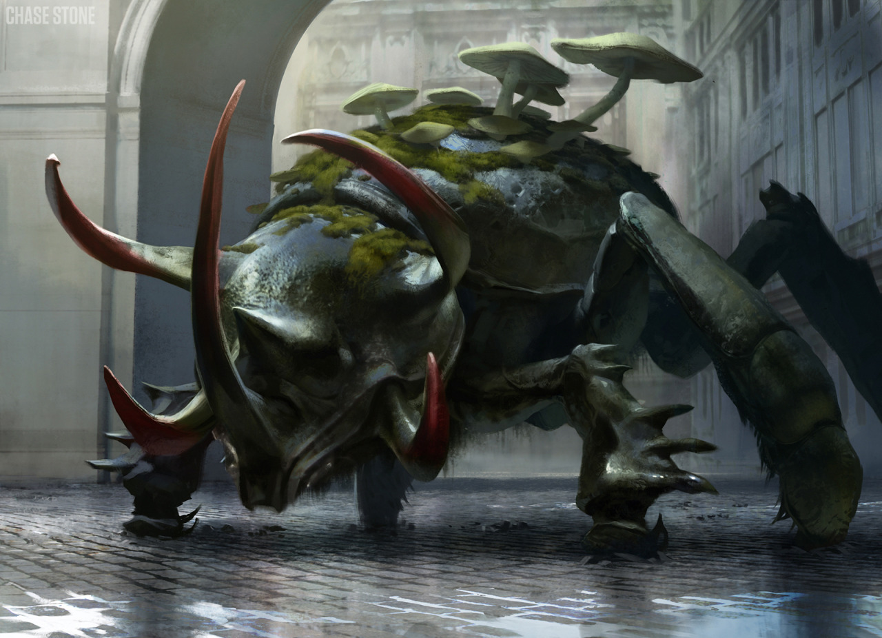 Golgari Tankbeetle - Return to Ravnica Art Director: Jeremy JarvisCopyright Wizards of the Coast LLC  Edit: Woops, the actual title is Deadbridge Goliath, Golgari Tankbeetle was the original name of this guy on the art description.  As is often the case, his name changed on his journey to becoming a finished card.  I was totally aware of the name change too, but I guess he'll always be a Golgari Tankbeetle to me