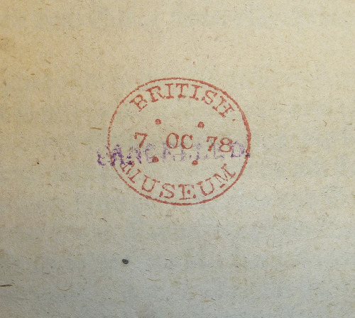 "Stamp of British Museum (dated 7 October 1878), overstamped with cancel stamp by Penn Provenance Project on Flickr.Via Flickr: Stamp (""BRITISH MUSEUM"" around date ""7 OC 78"" [i.e. 7 October 1878]) in ink (now orange). The word ""CANCELLED."" has been stamped across it in blue ink.Established heading: British Museum Penn Libraries call number: GC6 A100 621k2"