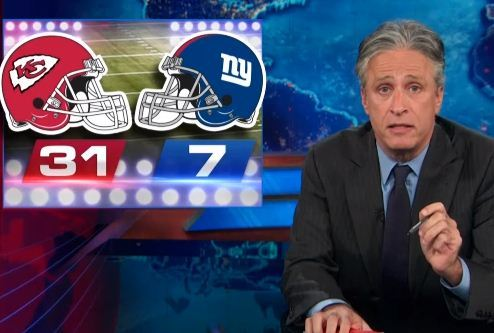 """""""Did you see the Giants game on Sunday? They lost 31 to 7. And you know what the Giants didn't say after that game: 'If you don't give us 25 more points by midnight on Monday, we will shutdown the f**kin' NFL!' They didn't say that."""" - Jon Stewart http://on.cc.com/1eXiRVn"""