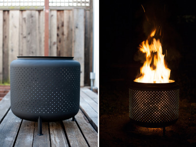 The washing-machine-drum firepit:    It's a super-easy project and the design of the washing machine drum is perfect for a fire. Its small holes around the drum not only allow for oxygen flow to the fire but also make for a pretty light show. Joe added some welded feet to ours and painted it black but if you omit the extra features you can make this in an hour or less. It couldn't be easier. Materials we used: 1 Recycled Washing Machine Drum (we got ours at a used appliance store for $10) Angle grinder (optional) Cup wire brush, Cut-off wheel, and Flap-wheel sanding disc (for grinder, also optional) Safety Glasses Angle-stock and Flat-stock steel (optional) High heat black paint (optional)   Instructions and more: $10 DIY One Hour Upcycled Firepit | House & Fig