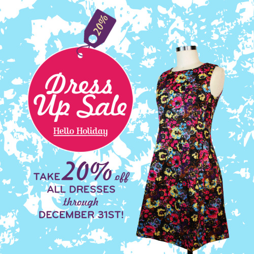 Get Dressed Up! Take 20% off all dresses through December 31st at Hello-Holiday.com.