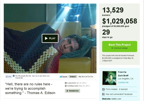 "$1MM+ in less than a day. My love/hate with crowdfunding continues.  Page 1… ""Wish I Was Here"" is the story of Aidan Bloom (played by me), a struggling actor, father and husband, who at 35 is still trying to find his identity; a purpose for his life. He and his wife are barely getting by financially and Aidan passes his time by fantasizing about being the great futuristic Space-Knight he'd always dreamed he'd be as a little kid. When his ailing father can no longer afford to pay for private school for his two kids (ages 5 and 12) and the only available public school is on its last legs, Aidan reluctantly agrees to attempt to home-school them. The result is some funny chaos, until Aidan decides to scrap the traditional academic curriculum and come up with his own. Through teaching them about life his way, Aidan gradually discovers some of the parts of himself he couldn't find. It was written by my brother, Adam, and me last summer."