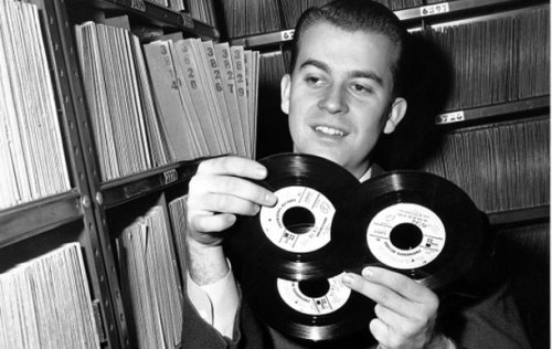 Dick Clark in his record library in Philadelphia, PA (1959)