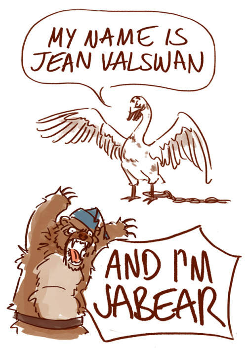 foundingfathersfbconvos:  anaeolist:  my sincerest apologies  Best Les Mis parody ever. If this musical was done entirely with animals I might like it!