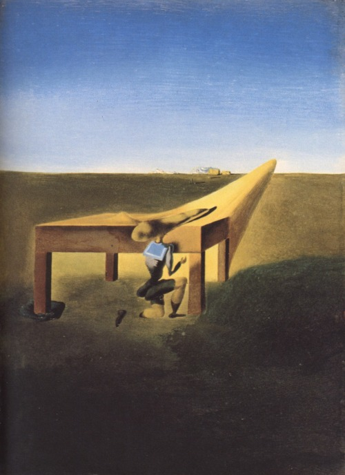 surrealism:  Sunday Dalí: Myself at the age of ten when I was the grasshopper child, 1933. Oil on panel, 16 x 22 cm. The Salvador Dali Museum, St. Petersburg, Florida.