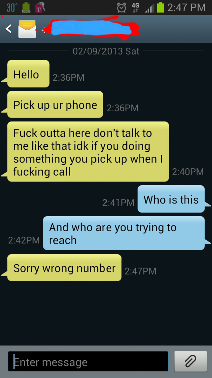 At least I got the misdial TXT and not the call, damn