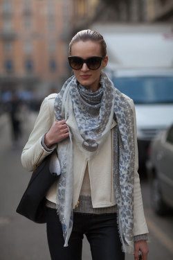 labellefabuleuse:  Daria Strokous during Milan Fashion Week, Fall 2013