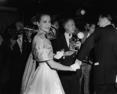 Grace Kelly at the 28th Academy Awards on March 21, 1956. This was Grace's last public appearance before heading to New York and then on to Monaco for her wedding to Prince Rainier.