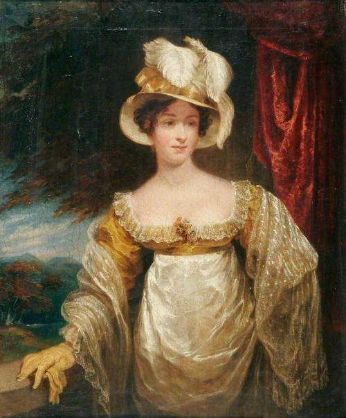 Portrait of a Lady with an Ostrich Plume Hat by Joseph Clover, date not given (ca late 1810's?), Norwich Castle Museum & Art Gallery