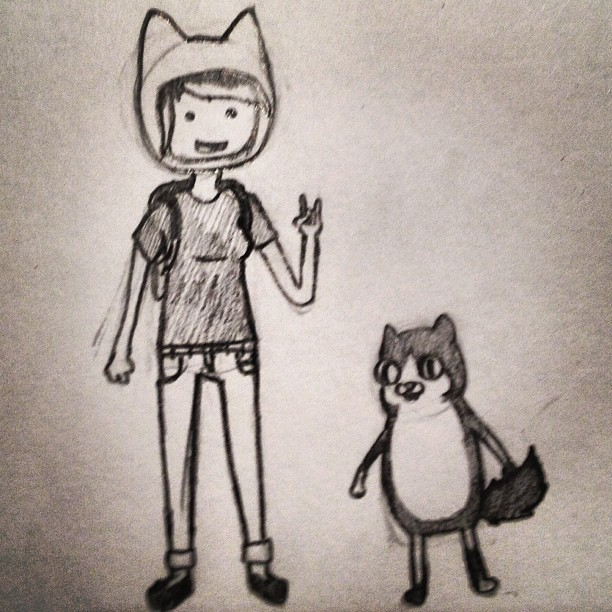 alice-w0lf:  Got bored and drew me and my cat in Adventure Time style.