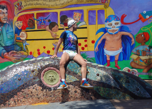 A close friend and I went on a public art walking tour. We had fun checking out some amazing murals- and goofing around of course! #wetguppy#public diaper#abdl#abdl guys