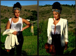 blackfashion:  Palesa Kgasane. South Africa Leather Pants- vintage Rolling stones t-shirt- Cotton on Cream Blazer- thrift store taken by neo baepi palesa's blogs brownskinfreckles.blogspot.com // brownskinfreckles.tumblr.com