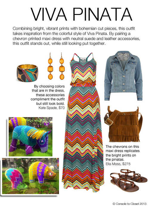 Inspired by Viva Pinata Dress: Eluxe - Ella Moss Chevron Maxi, $275 / Jacket: Dorothy Perkins - Light Denim Jacket, $56 / Sandals: Target - Mossimo Sandal, $20 / Purse: DSW - Minnetonka Fringe Cross Body Bag, $50 / Bangle: Stylebop - Mango Multi Bracelet, $60 / Earrings: Zappos - Kate Spade Confetti Earrings, $68