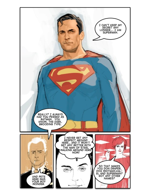 merlin:   longboxing:  SuperMadMen. Once I saw that John Hamm Superman, I couldn't resist.  I…just. God DAMN! Fucking Phil Noto!
