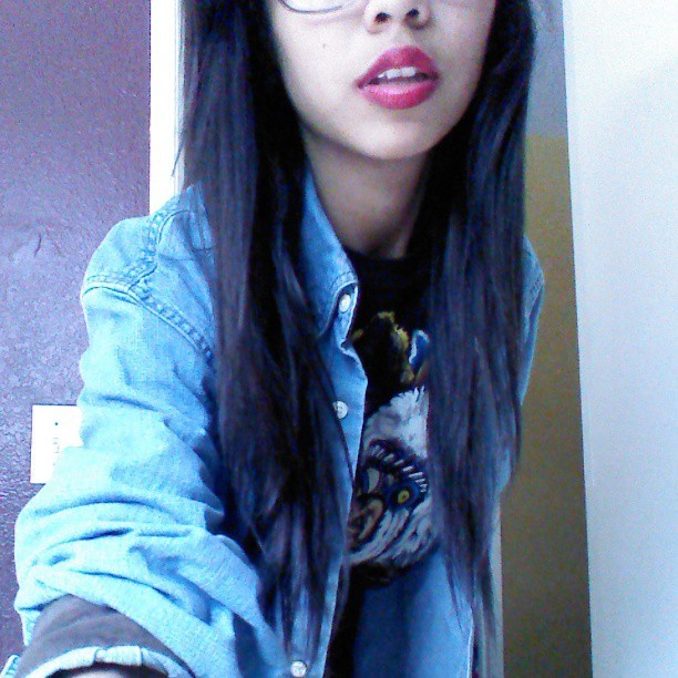 Red lips. #red #lipstick #cute #girl #me #jeanjacket #wolfshirt