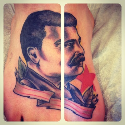 Stalin! Done by Jess Tanner at Marion Street Tattoos, Denver.  Jesstanner.tumblr.com