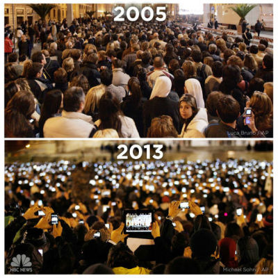 Photo: The proliferation of mobile devices since 2005. As the Today Show points out, this comparison of the announcement of Pope Benedict in 2005 and Pope Francis in 2013 shows just how much times have changed with regards to how events are enjoyed, captured, and shared - over only an eight year period.