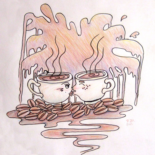 Coffee Love Fountain pen, pencil and colored pencils on paper This is a doodle inspired by a doodle my sister did about coffee mugs having a secret affair >.< . Had to adjust some minor levels and exposure details in Photoshop as I took a photo of it using my camera and it was too dark when I downloaded it to my computer :)