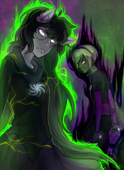 dorkyboo:   black rose / green sun  slowly posts update art (higher res)