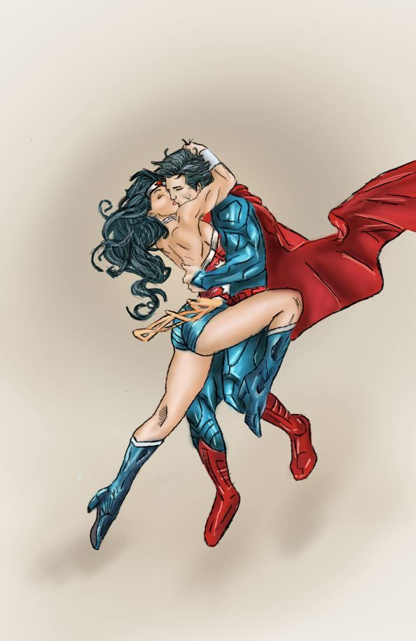 wonder woman and Supermans young romance.by ~Super-Midget