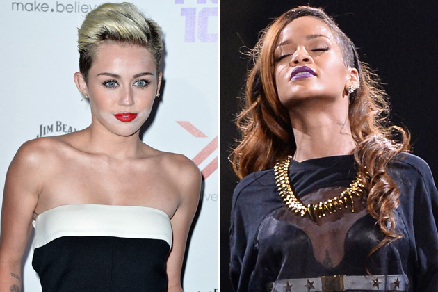 datzhott:  Miley Cyrus Wants to Make Out With RihannaEveryone wants a piece of Rihanna, be it Chris Brown, Drake, the Wanted … and now even Miley Cyrus.…View Post  She wants to BE Rihanna.