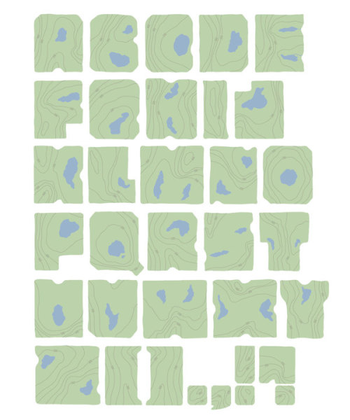 Typography/Topography An Earth-inspired typeface designed by Siyu Cao that creates shapes and letters from classic typographic map features. The two-dimensional forms are great, but the 3-D carvings really drive it to the mountaintop. I've seen a lot of Earth as Art projects, but never a typeface. Excellent work. Bonus: Check out some of my other favorite science-inspired typography here.