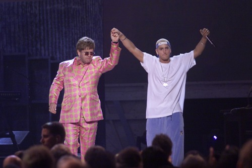 "Elton John and Eminem joined together for a game-changing performance of ""Stan"" at the 43rd GRAMMY Awards in 2001 Photo: Frank Micelotta/WireImage.com"