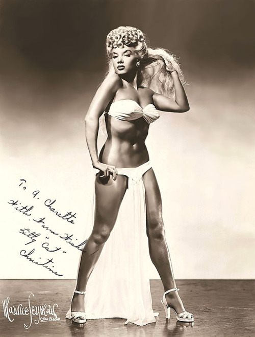 "Lilly Christine       aka. ""The Cat Girl"".. Signed vintage 50's-era promo photo.."
