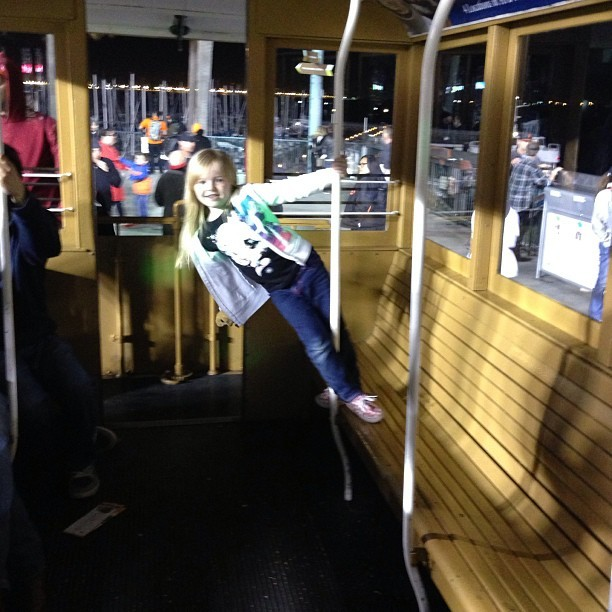 Erin on the cable car in outfield #attpark  (at AT&T Park)