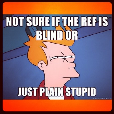 This pretty much sums up the ref who kicked Abdelkader out of the game.
