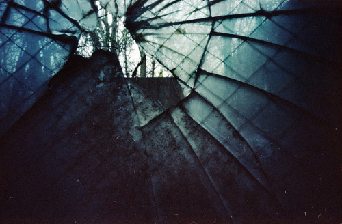 Pinhole: Web on Flickr.Shot this while on a photo adventure w/.penny a few weeks ago. We explored a mostly abandoned, falling-down  warehouse. Haven't had that much fun in a while. For this, I held the camera on the window sill, the pinhole less than two inches from the glass. The hole was smaller than the size of a quarter. This will be part of a new series I'm currently working on. My hope is to get the series in a local gallery. More details about it when I'm closer to being done. Zero Image, f235, Kodak Portra 100T, I don't remember how long