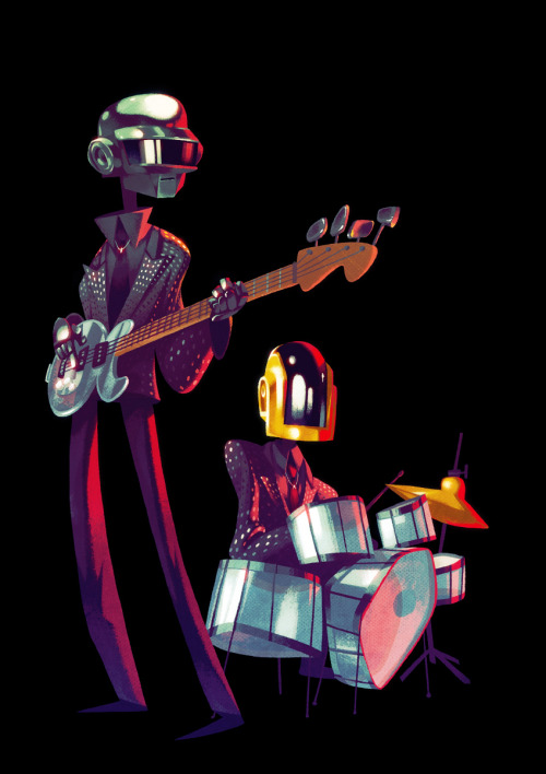 carvente:  anttillustrates:  I've always thought daft punk's helmets and gear was super cool. So why not paint them! Also random access memories seems like it could be a pretty nice album.