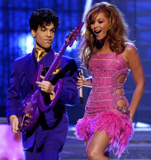 "A memorable GRAMMY Moment as Prince + Beyonce opened the 45th GRAMMY Awards performing Prince's ""Purple Rain,"" ""Baby I'm A Star"" and ""Let's Go Crazy,"" and Beyoncé's ""Crazy In Love"" Photo: Michael Caulfield/WireImage.com"