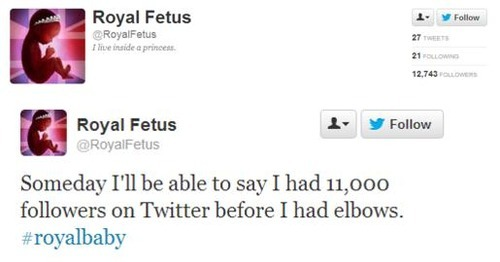 The Best New Novelty Twitter Account: Royal Fetus Click here to follow. via