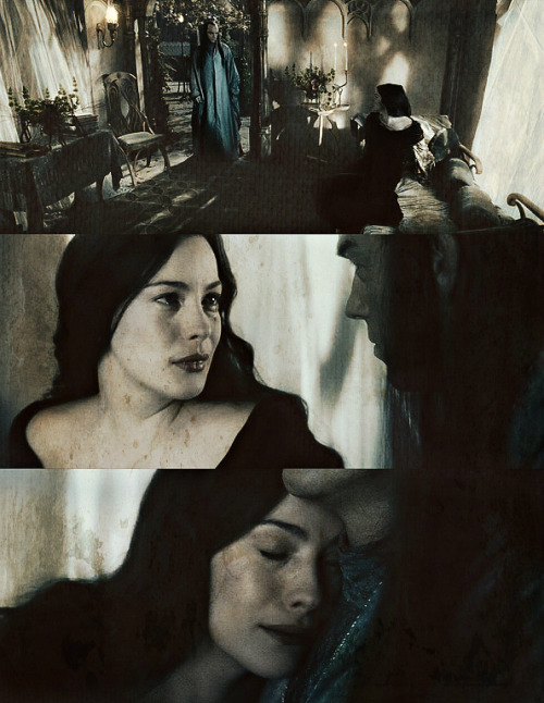 Arwen Evenstar remained also, and she said farewell to her brethren. None saw her last meeting with Elrond her father, for they went up into the hills and there spoke long together, and bitter was their parting that should endure beyond the ends of the world.