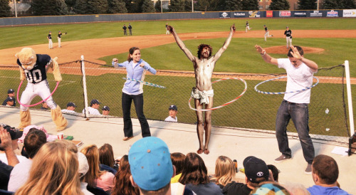 Jesus Participating In A Hula Hoop Competition