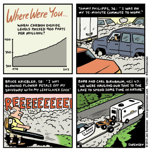 """Where were you when CO2 passed 400ppm?"" by Jen Sorensen"