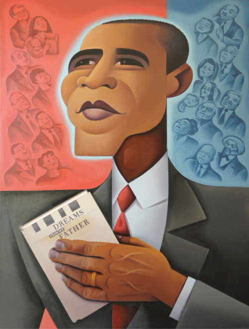 Obama Portrait Presented To Chicago Public Library From Crain's Chicago Business:  A caricature of President Barack Obama was presented to the Chicago Public Library on Tuesday as part of the city's celebration that his political roots began here. Along with featuring Mr. Obama, it showcases his connections to his work on the South Side before he entered politics. Library Commissioner Brian Bannon and artist Steve Musgrave presented the portrait at the West Pullman Branch.