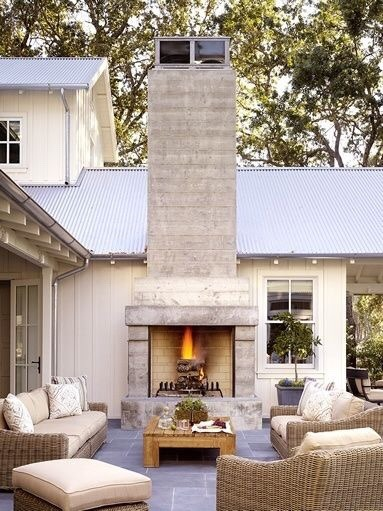 outdoor living outdoor fireplace yard patio deck Dream house