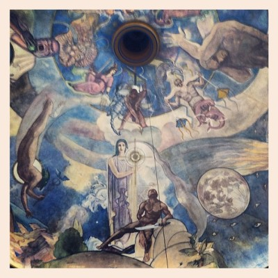 The Griffith Observatory has this beautiful mural on their ceiling. It sure does need some restoration, it's quote faded. #griffithobservatory #art