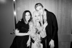 terrysdiary:  Gaga with Mother and Son Little Monsters backstage.