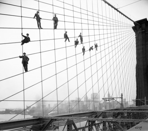explore-blog:  Painters on Brooklyn Bridge, 1910-1914. The bridge was the engineering miracle of its time, its story equal parts unlikely and iconic.