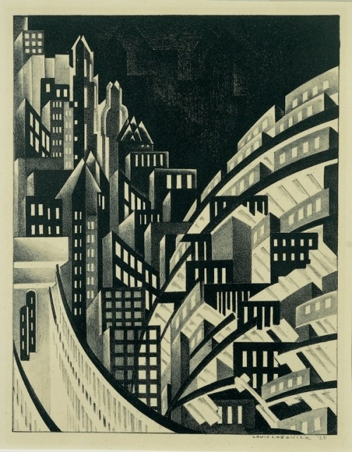 drawingarchitecture:  New York Louis Lozowick. 1925. Lithograph: image, 11 9/16 × 9 in. (29.4 × 22.9 cm)