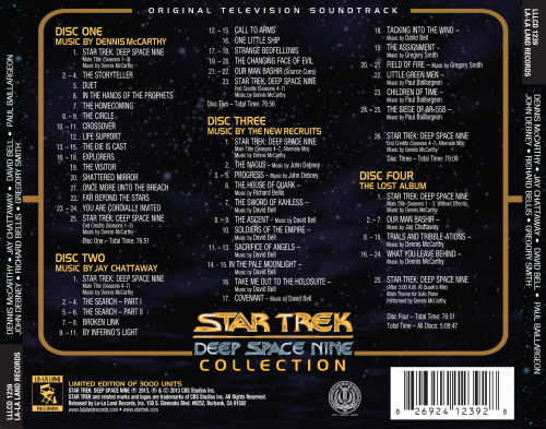 "TrekCore have released a backcover image from La La Lands' forthcoming Star Trek: Deep Space Nine Soundtrack Collection, revealing new details about the new release, which is only about a week away. Amongst the details on the track listing are the identities of the episodes being highlighted on the ""Lost Album"" disc, which features Our Man Bashir, Trials and Tribble-ations, and What You Leave Behind. There are also enough variants of the opening and closing title music to have different versions on each of the four discs! The small print also notes that the album will be limited to 3000 copies."