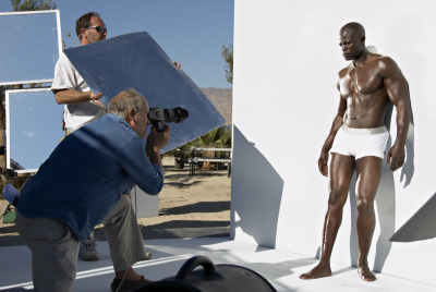 Djimon Hounsou on set for Calvin Klein Underwear, 2007.  From the Calvin Klein Advertising Archive.