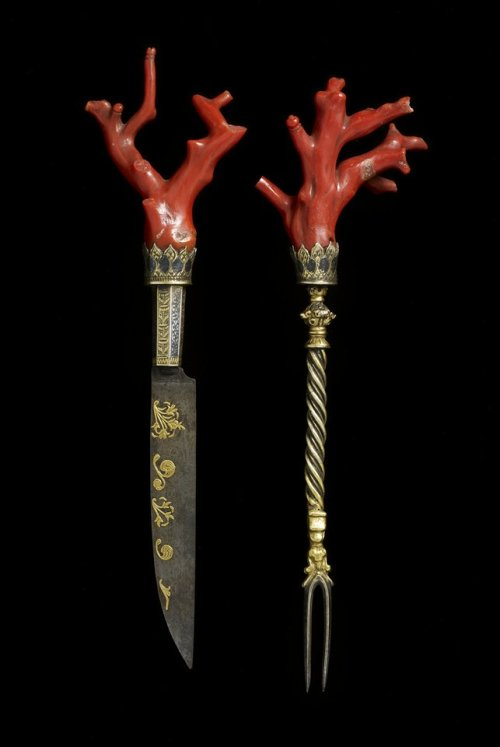 "aleyma:  Cutlery set with coral, made in Italy in the late 16th century (source).  ""This preciously decorated and extremely rare coral cutlery set from the late 1500s would have been only used on extraordinary occasions, such as a wedding, a knighting or a state visit. In the late Renaissance, the guests would typically bring their own cutlery to formal dinners. An expensively decorated cutlery set would have elicited the host's and other guests' admiration. Besides, coral was believed to be an antidote against poison. Therefore, in the view of its time this set of cutlery would have offered its bearer special protection during a meal at the table of a rival family or of an untrustworthy foreign ruler."" - from the MIA description"