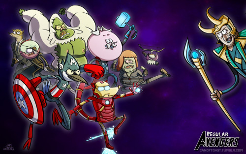 chewymurdock:  OMG REGULAR SHOW AVENGERS Except! Rigby is two people?  and how the fuck is high 5 ghost going to shoot an arrow?  oh well, I'll accept it.
