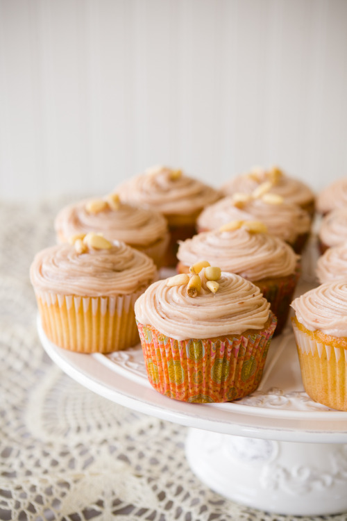 One Bowl Pine Nut Cupcakes with Raspberry Cream Cheese Frosting http://www.cupcakeproject.com/2013/01/one-bowl-pine-nut-cupcakes-with.html