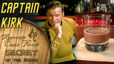 thedrunkenmoogle:  Captain Kirk (Star Trek cocktail) Ingredients:1 shot Amaretto1 shot Malibu1.5 shots MilkChocolate Syrup (as much as you would add to a glass of Chocolate Milk) Directions: Add all four ingredients into a mixing glass with ice. Mix well, and strain into a lowball glass.  Drink created by Aggressive Comix, as part of their Secret of the Booze video series. Photography by Holly Jo Photo. video: